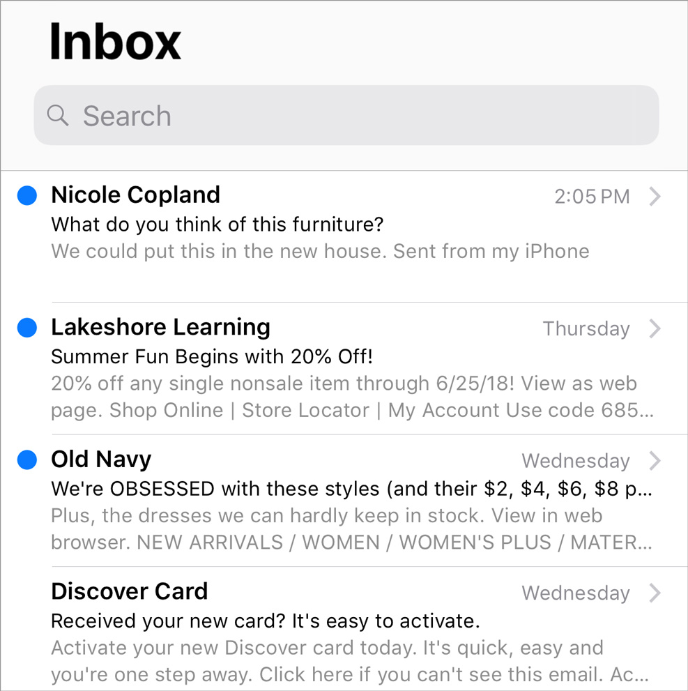 Preview of Apple Mail Inbox